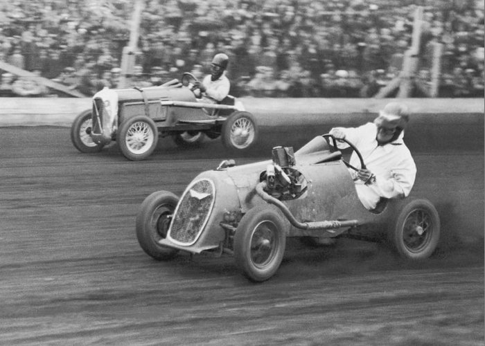 People Greeting Card featuring the photograph Two Men Racing Midget Cars B&w by Fpg