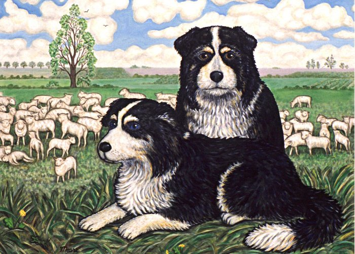 Dogs Greeting Card featuring the painting Two Sheep Dogs by Linda Mears