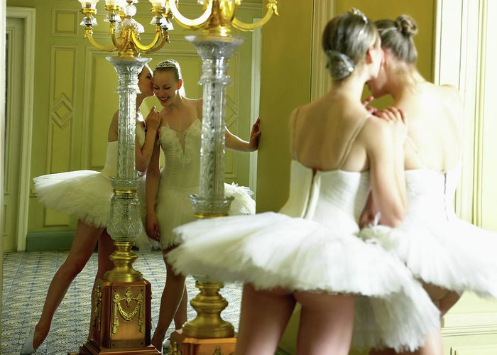Ballet Dancer Greeting Card featuring the photograph Two Teenage Ballet Dancers 13-15 In by Hans Neleman