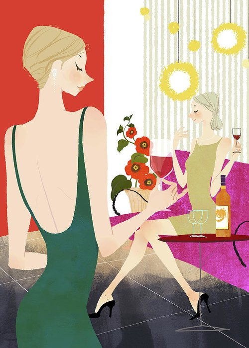 People Greeting Card featuring the digital art Two Woman Drinking Wine by Eastnine Inc.
