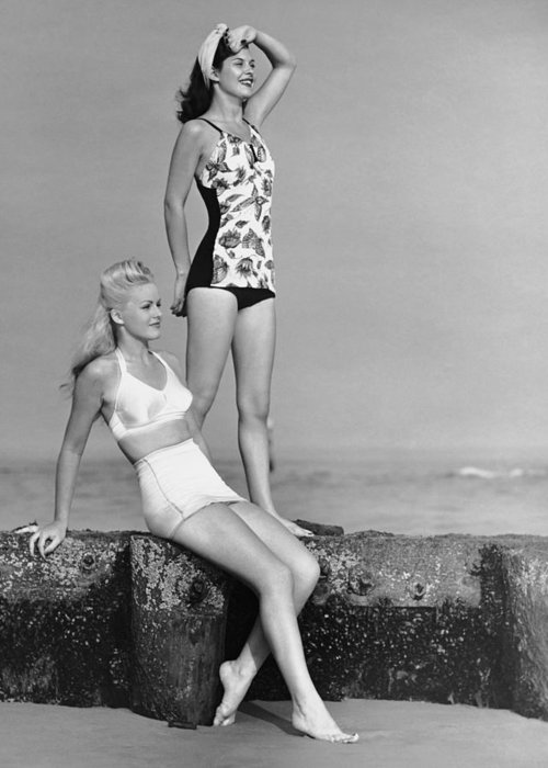 People Greeting Card featuring the photograph Two Women In Bathing Suits by George Marks