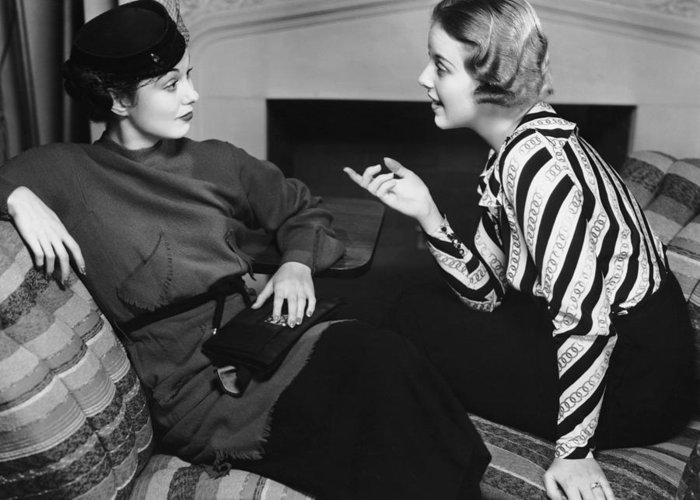Three Quarter Length Greeting Card featuring the photograph Two Women In Casual Conversation by George Marks