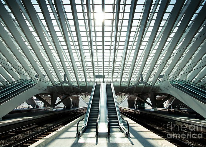 Pile Greeting Card featuring the photograph Ultra Modern Train Station In Liege by Telesniuk