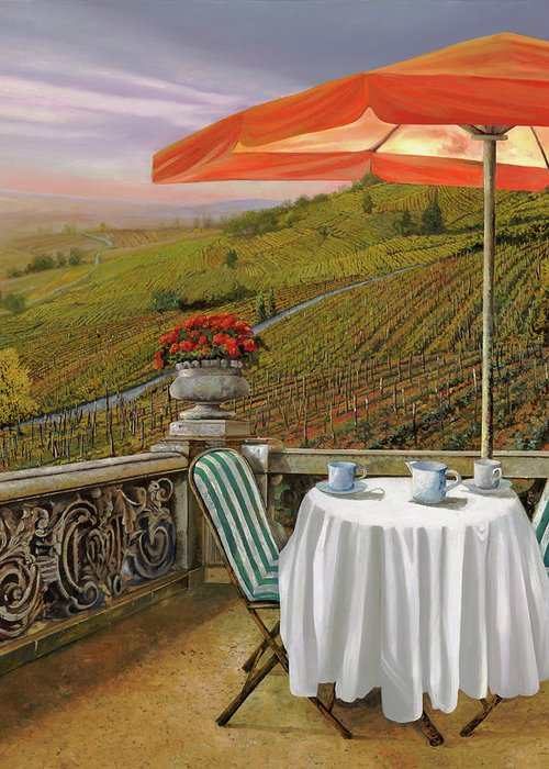 Vineyard Greeting Card featuring the painting Un Caffe' Nelle Vigne by Guido Borelli