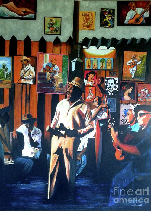 Bar Greeting Card featuring the painting Uncle Bar by Jose Manuel Abraham