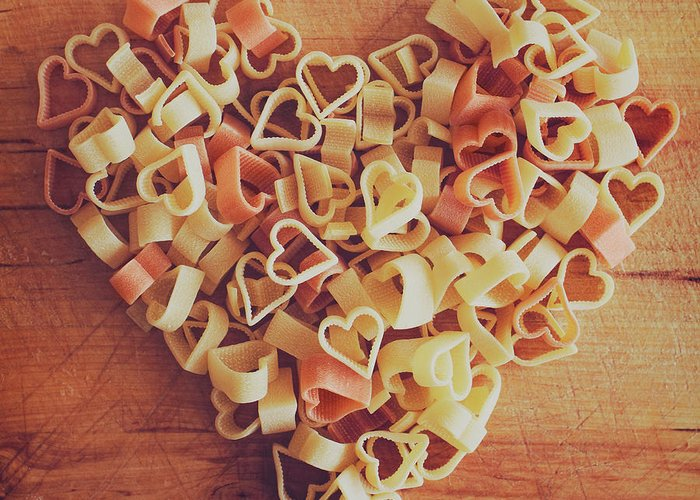 Italian Food Greeting Card featuring the photograph Uncooked Heart-shaped Pasta by Julia Davila-lampe