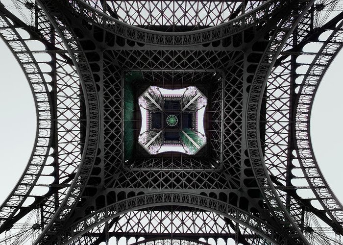 Eiffel Tower Greeting Card featuring the photograph Underneath Of Eiffel Tower, Low Angle by Ed Freeman