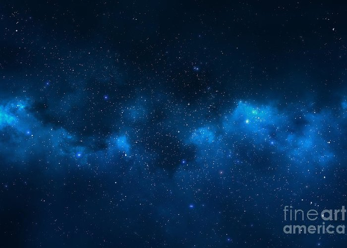 Big Greeting Card featuring the photograph Universe Filled With Stars, Nebula And by Pixelparticle