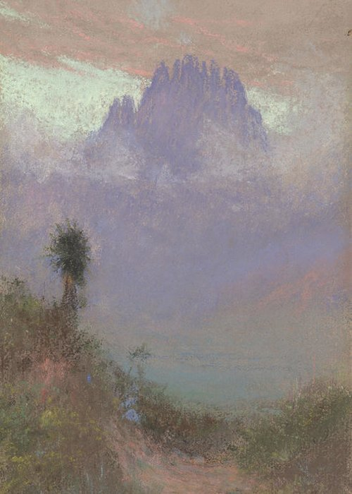 Mountainous Greeting Card featuring the painting Untitled Mountain Landscape, 1920, Pastel by Charles Franklin Reaugh