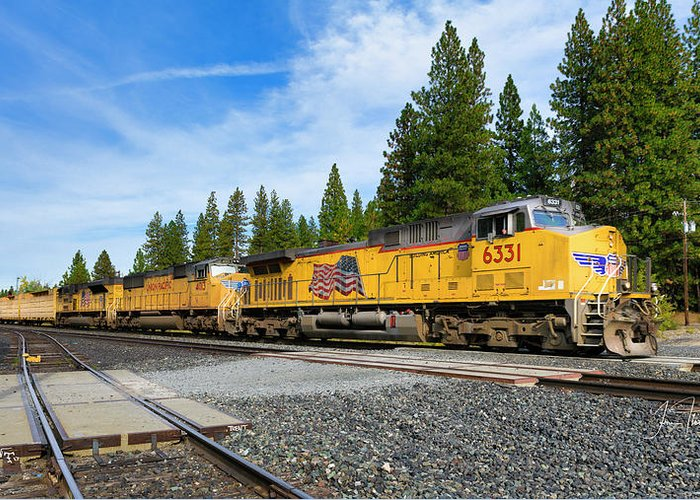 Freight Trains Greeting Card featuring the photograph Up6331 by Jim Thompson