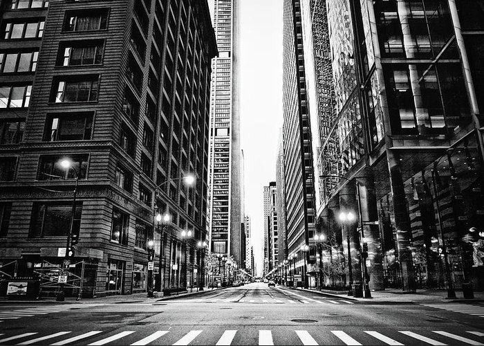 Crosswalk Greeting Card featuring the photograph Urban Chicago City Intersection Of by Nicole Kucera