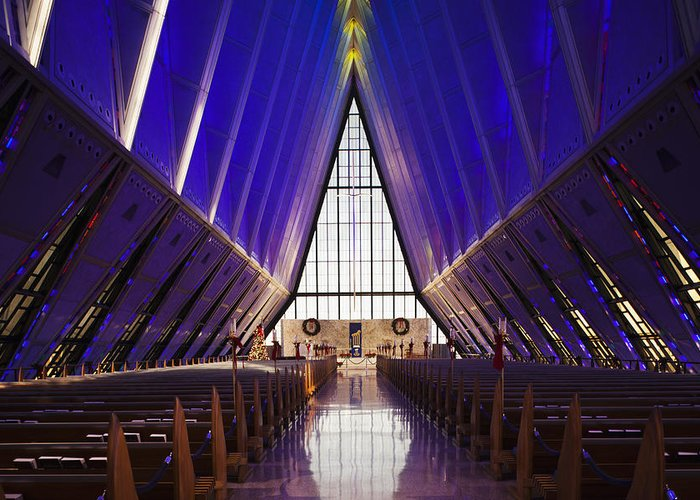 Large Group Of Objects Greeting Card featuring the photograph U.s. Air Force Academy, Cadets Chapel by Walter Bibikow