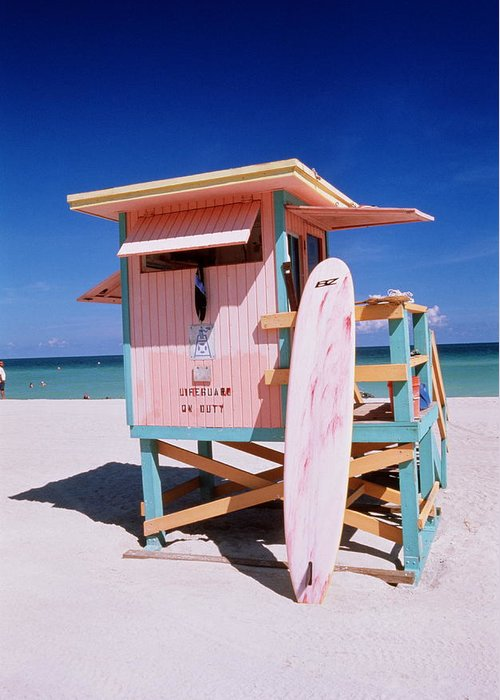 City Greeting Card featuring the photograph Usa Florida Miami Beach Lifeguard by Buena Vista Images