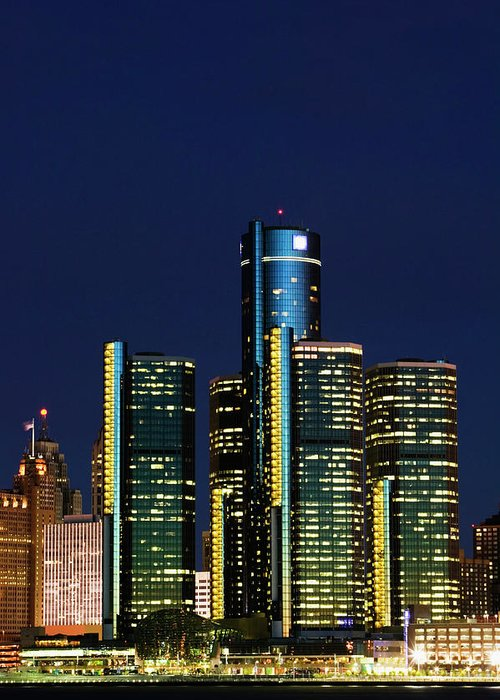 Detroit Greeting Card featuring the photograph Usa, Michigan, Detroit, Skyline & by Walter Bibikow