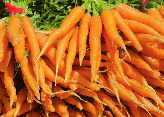 Large Group Of Objects Greeting Card featuring the photograph Usa, New York City, Carrots For Sale by Tetra Images