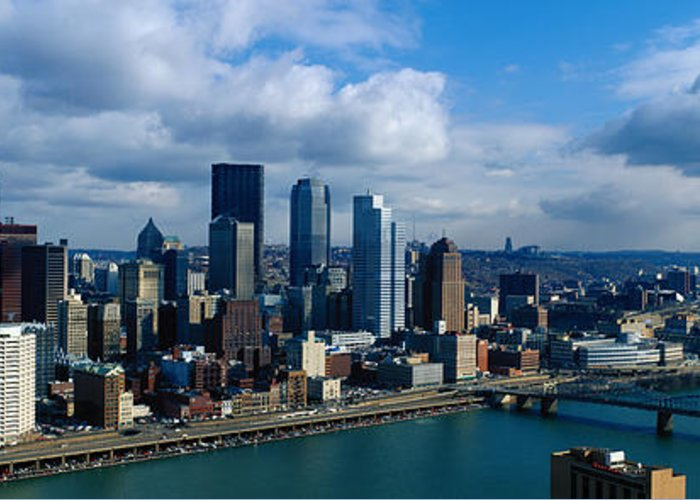 Panoramic Greeting Card featuring the photograph Usa, Pennsylvania, Pittsburgh, Skyline by Jeremy Woodhouse