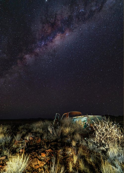 Stars Milky Way Galaxy Night Sky Transportation Truck Greeting Card featuring the photograph Ute by Mark Vegera