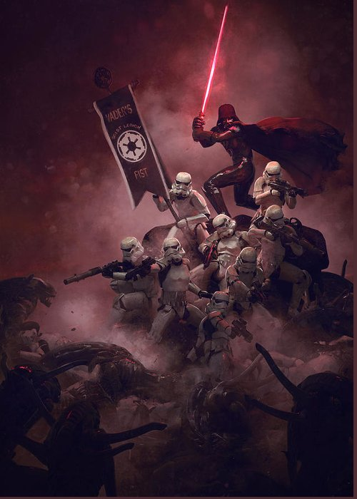 Star Wars Greeting Card featuring the digital art Vader vs Aliens 2 by Guillem H Pongiluppi