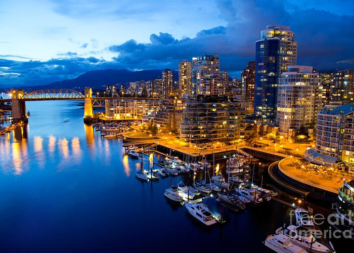 Night View Greeting Card featuring the photograph Vancouver Night View by Abesan