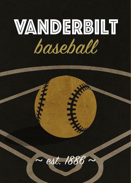 Vanderbilt Greeting Card featuring the mixed media Vanderbilt Baseball College Sports Team Retro Vintage Poster Series by Design Turnpike