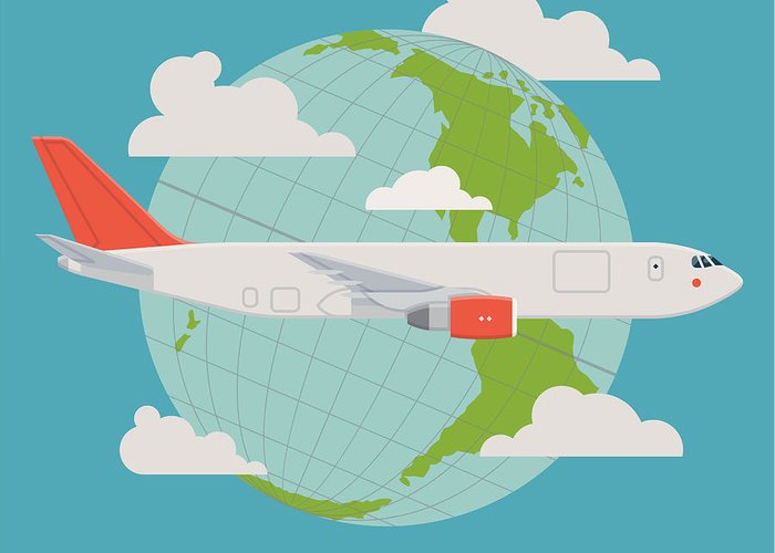 Plane Greeting Card featuring the digital art Vector Modern Delivery Web Icon On by Mascha Tace