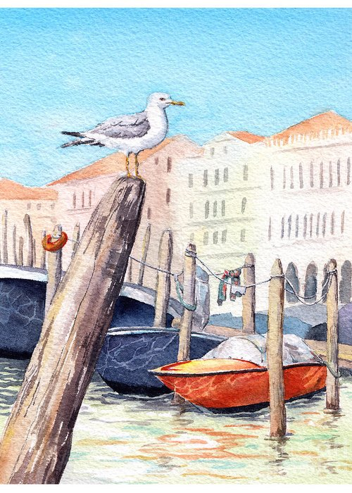 Panoramic Greeting Card featuring the digital art Venice - Boats, Water, Buildings And by Le Panda