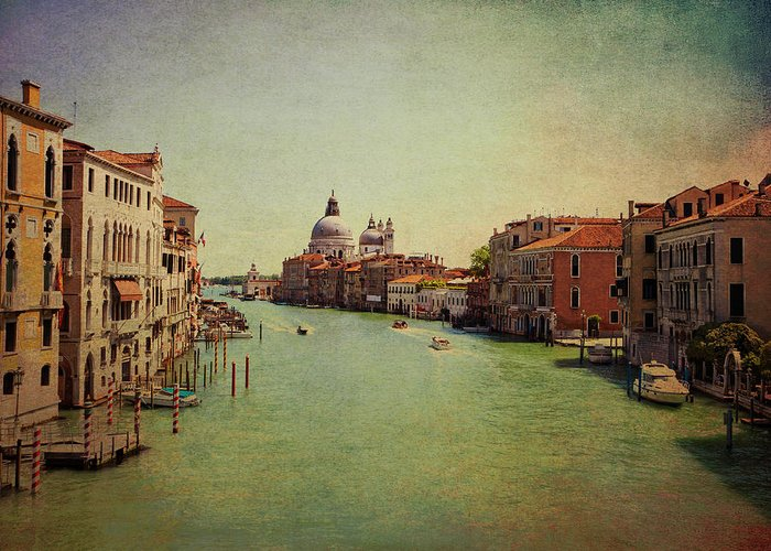 View Greeting Card featuring the photograph Venice, Italy - Grand Canal And The Baroque Domes Of Sai by Luisa Vallon Fumi