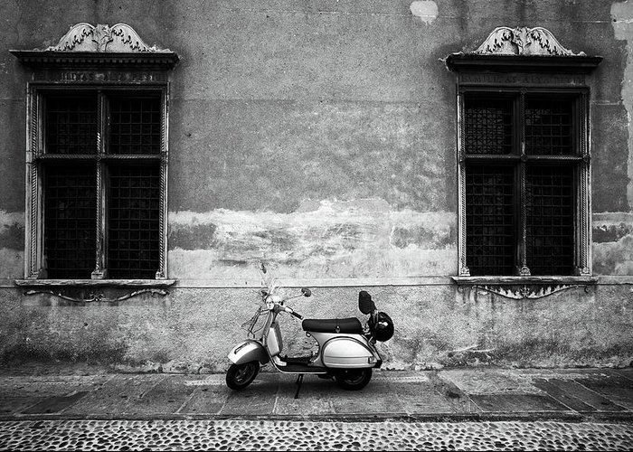 Two Objects Greeting Card featuring the photograph Vespa Piaggio. Black And White by Claudio.arnese
