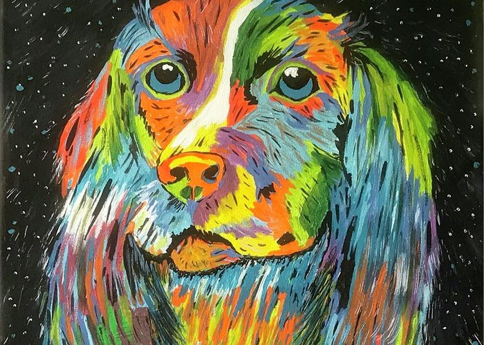 Vibrant Dog Greeting Card featuring the painting Vibrant Dog by Kathy Marrs Chandler