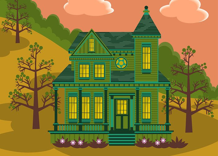 Victorian Style Greeting Card featuring the digital art Victorian House by Sam Morrison