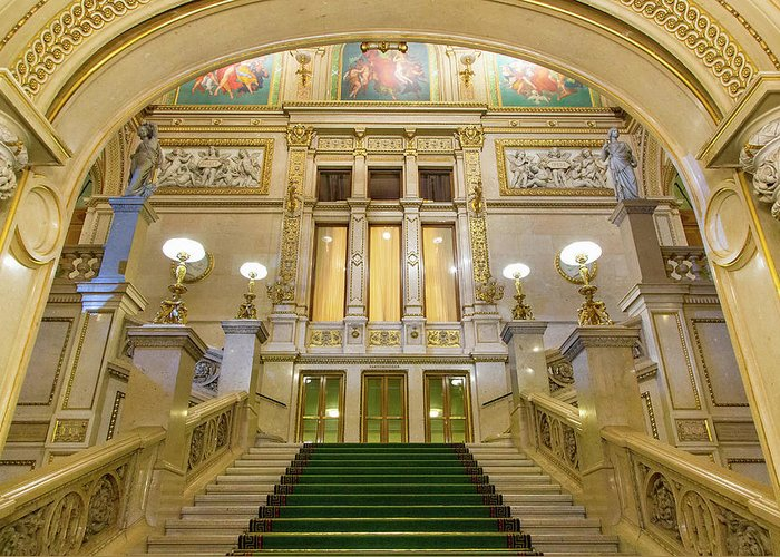 History Greeting Card featuring the photograph Vienna Opera House, The Main Hall by Sylvain Sonnet