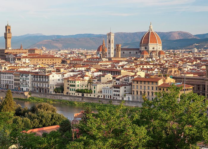 Treetop Greeting Card featuring the photograph View Of Florence, Tuscany, Italy by Peter Adams