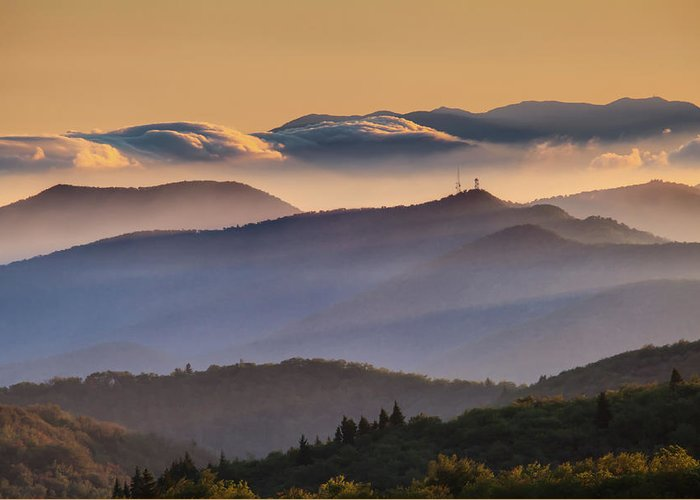 North Carolina Greeting Card featuring the photograph View Of Frying Pan Mountain by Fine Art Images By Rob Travis Photography