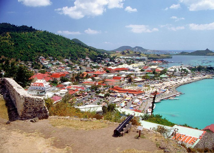 Scenics Greeting Card featuring the photograph View Of Marigot Bay From St. Louis by Medioimages/photodisc