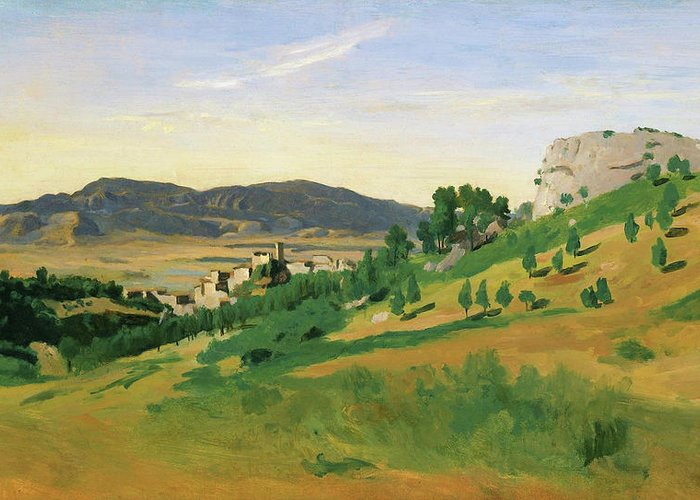 View Of Olevano Greeting Card featuring the painting View Of Olevano - Digital Remastered Edition by Jean-Baptiste Camille Corot