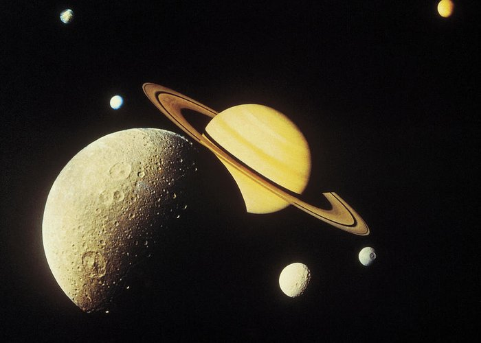 Galaxy Greeting Card featuring the photograph View Of Planets In The Solar System by Stockbyte