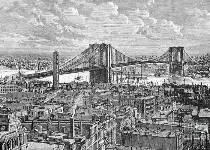 Suspension Bridge Greeting Card featuring the photograph View Of The Brooklyn Bridge by Bettmann