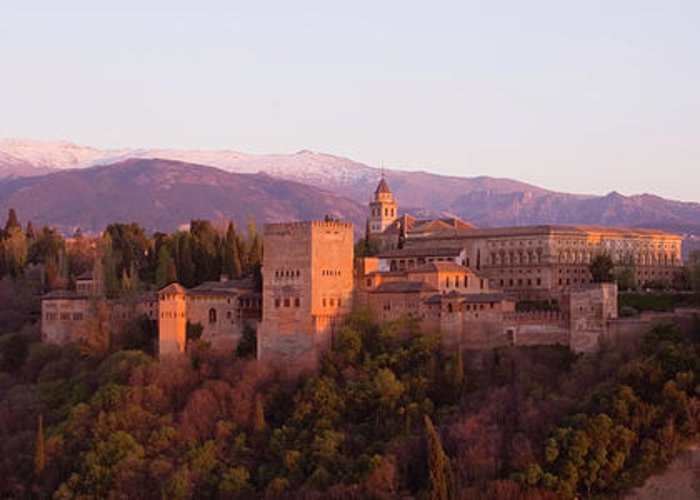 Scenics Greeting Card featuring the photograph View To The Alhambra At Sunset by David C Tomlinson