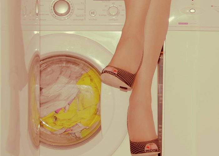 Laundromat Greeting Card featuring the photograph Vintage Laundry by © Angie Ravelo Photography