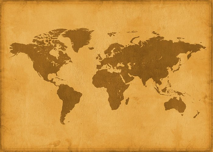 Material Greeting Card featuring the photograph Vintage Map Of The World In Brown by Yorkfoto