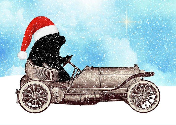 Christine Mullis Greeting Card featuring the digital art Vintage Santa Newf Holiday Card by Christine Mullis