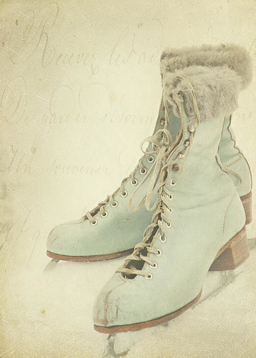 Snow Greeting Card featuring the photograph Vintage Teal Skates by My Vintage Gardens Photography