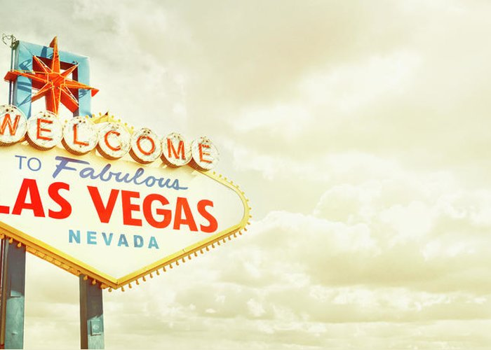 Panoramic Greeting Card featuring the photograph Vintage Welcome To Fabulous Las Vegas by Powerofforever
