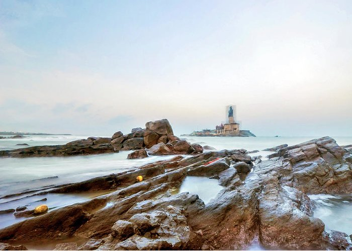 Statue Greeting Card featuring the photograph Vivekanandar Rock & Thiruvalluvar by Yesmk Photography