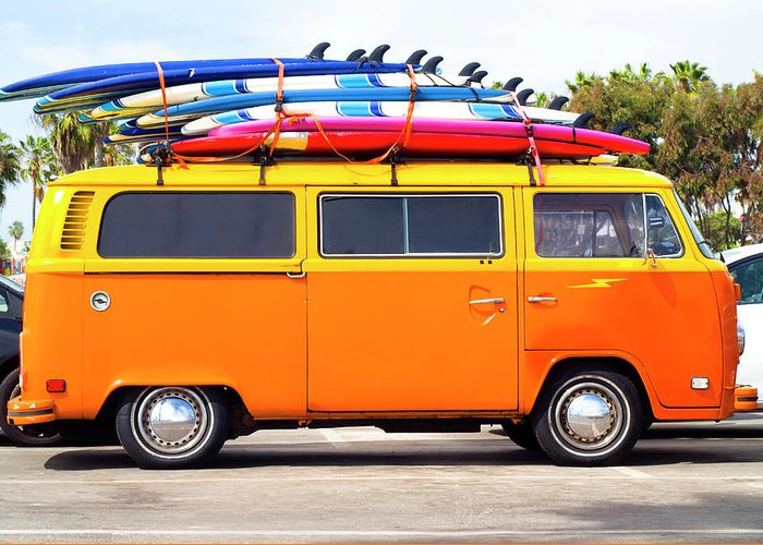 Youth Culture Greeting Card featuring the photograph Volkswagen Bus With Surf Boards by Pete Starman