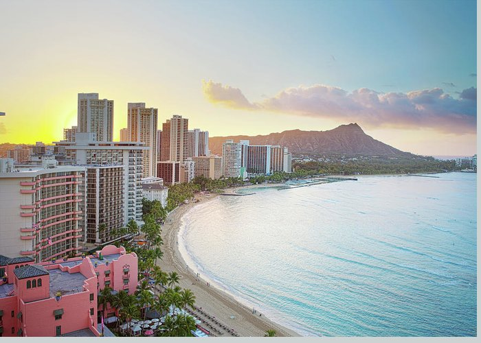 Scenics Greeting Card featuring the photograph Waikiki Beach At Sunrise by M Swiet Productions