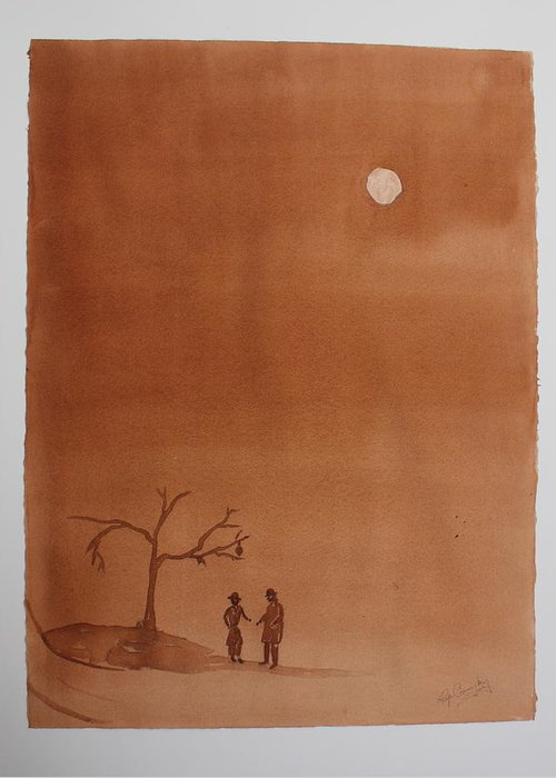 Play Greeting Card featuring the painting Waiting for Godot by Roger Cummiskey