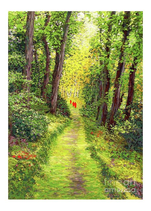 Meditation Greeting Card featuring the painting Walking Meditation by Jane Small