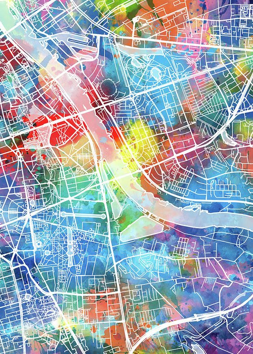 Warsaw Poland Map Greeting Cards | Fine Art America