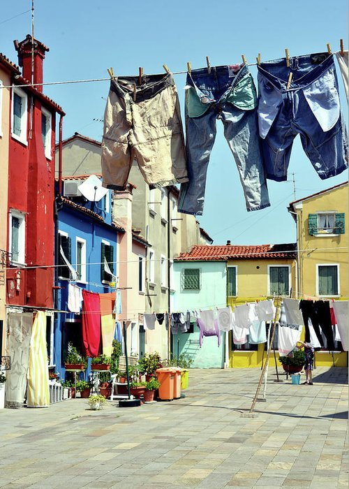 Hanging Greeting Card featuring the photograph Washday In Burano by Paul Biris